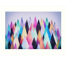 Colorful Abstract Geometric Triangle Peak Wood's  Art Print