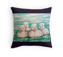 FOUR LITTLE BABY SWANS Throw Pillow