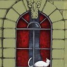 Alabaster the Cat in the Window SOLD by Donna Huntriss