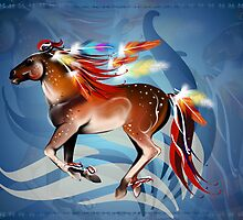 Horse N Bright Feathers Banner by Lotacats