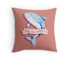 SAVE THE SHARKS Throw Pillow