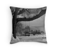 Snow Covered Swings Throw Pillow