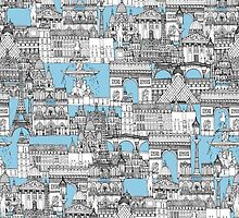 Paris toile cornflower blue by Sharon Turner