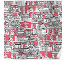 Paris toile strawberry pink Poster