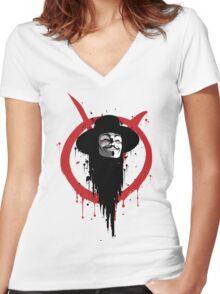 V for Vendetta Ink Women's Fitted V-Neck T-Shirt