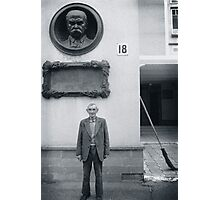 Man and Broom, Ukraine Photographic Print