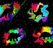 Dinosaur Rainbow Watercolour Silhouette by evie92