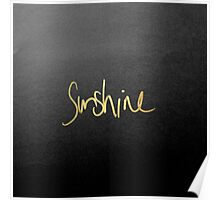 """Sunshine"" Typography in Faux Painted Gold Poster"