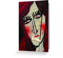 Red Lady on Wall Greeting Card