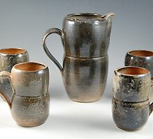 Shino pitcher and mugs set by Austin Wieland
