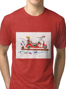 from sea to the table... (fishing, grilling, delivering) Tri-blend T-Shirt