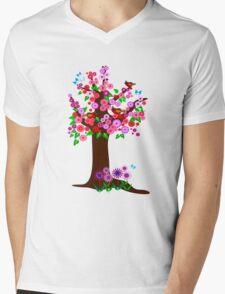 Spring tree with blossoms Mens V-Neck T-Shirt