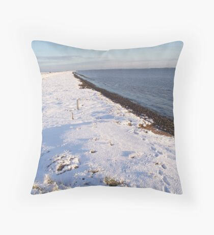 Snowy day at Burnham on Crouch Throw Pillow