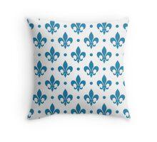 Blue Fleur de Lis on white background Throw Pillow
