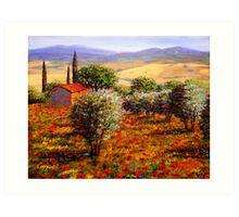 Tuscany Olive Grove & Poppies Art Print