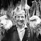 Pigs heads London 1971 by Duncan Garrett