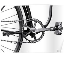 Old Bicycle Pedal Sprocket and Chain Poster