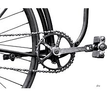 Old Bicycle Pedal Sprocket and Chain Photographic Print