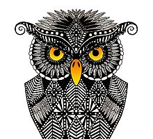 Black and White Ornamental Owl by tinibaybeez