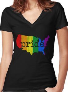 AMERICA USA GAY MARRIAGE PRIDE MAP VINTAGE Women's Fitted V-Neck T-Shirt