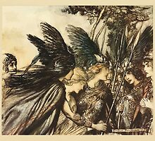 The Rhinegold & The Valkyrie by Richard Wagner art Arthur Rackham 1910 0269 Sisters, Your Help by wetdryvac