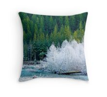 Frost Along the Nooksack River Throw Pillow