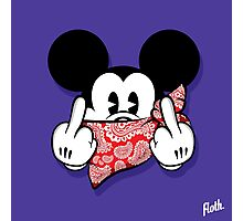 Bandana Mouse Head Middle Fingers Photographic Print