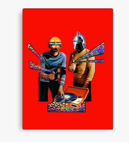 Spock and Kirk Beam Up a Record Player and Shoot Phasers Set on Stun Canvas Print