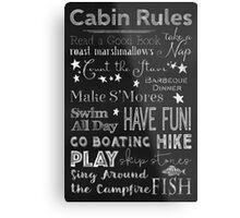 Cabin Rules Lodge Fun Chalkboard Typography Art Metal Print