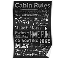 Cabin Rules Lodge Fun Chalkboard Typography Art Poster