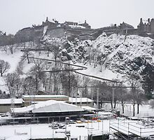 Edinburgh Castle - white winter view by Yonmei