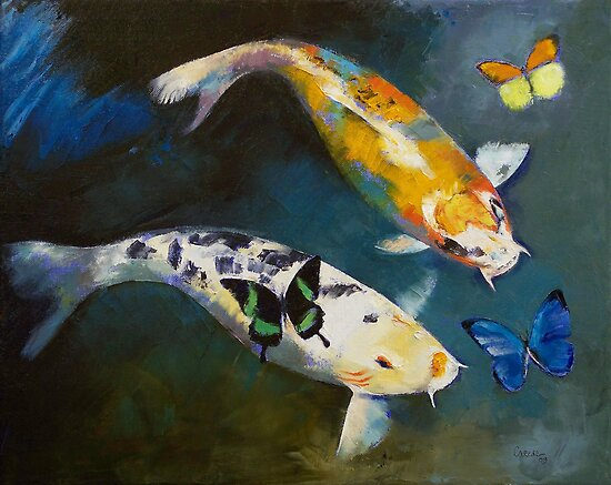 Koi fish and butterflies by michael creese redbubble for Michael koi pond