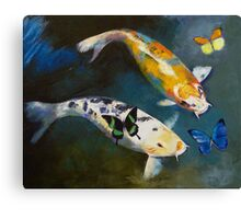 Koi Fish and Butterflies Canvas Print