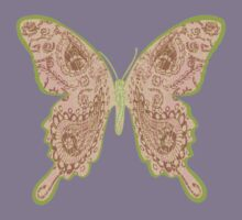Tribal Paisley Butterfly Peach Kids Tee
