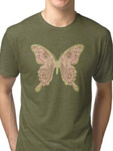 Tribal Paisley Butterfly Peach Tri-blend T-Shirt
