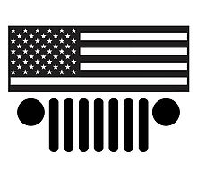 Jeep Wrangler American Flag B&W BIG (shirt size) by apaluzzi27