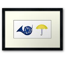 Blue French Horn Vs. Yellow Umbrella Framed Print