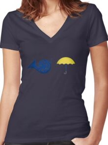 Blue French Horn Vs. Yellow Umbrella Women's Fitted V-Neck T-Shirt