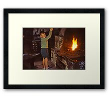 Me in Blacksmith's shop, Ardara, Co Donegal, Ireland circa 1959 Framed Print