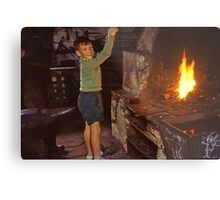 Me in Blacksmith's shop, Ardara, Co Donegal, Ireland circa 1959 Metal Print