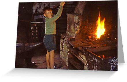 Me in Blacksmith's shop, Ardara, Co Donegal, Ireland circa 1959 by Andrew Jones