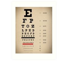 Vintage Inspired Eye Chart - Snelling Eye Chart - Visual Acuity - Distressed Canvas Background Print Art Print