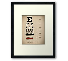 Vintage Inspired Eye Chart - Snelling Eye Chart - Visual Acuity - Distressed Canvas Background Print Framed Print