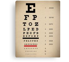 Vintage Inspired Eye Chart - Snelling Eye Chart - Visual Acuity - Distressed Canvas Background Print Canvas Print