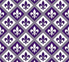 Purple Fleur de Lis and Diamond Pattern by ImageNugget