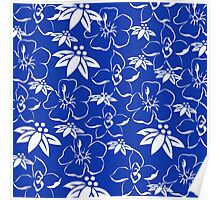 Blue and White Toile Pattern Poster