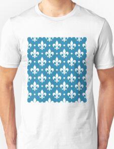 White Fleur de Lis on Blue Background T-Shirt