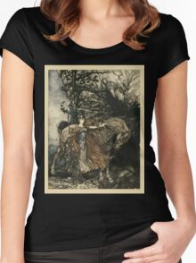 The Rhinegold & The Valkyrie by Richard Wagner art Arthur Rackham 1910 0249 Brunnhilde with Her Horse Women's Fitted Scoop T-Shirt
