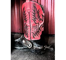 Lonely Cowboy Boot Photographic Print