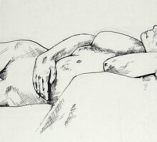 Nude Female 008 Ink Drawing by Enchanted Studios